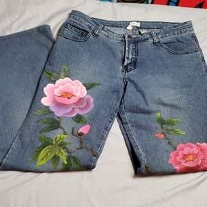 Cache flare Jean's with flowers size 8